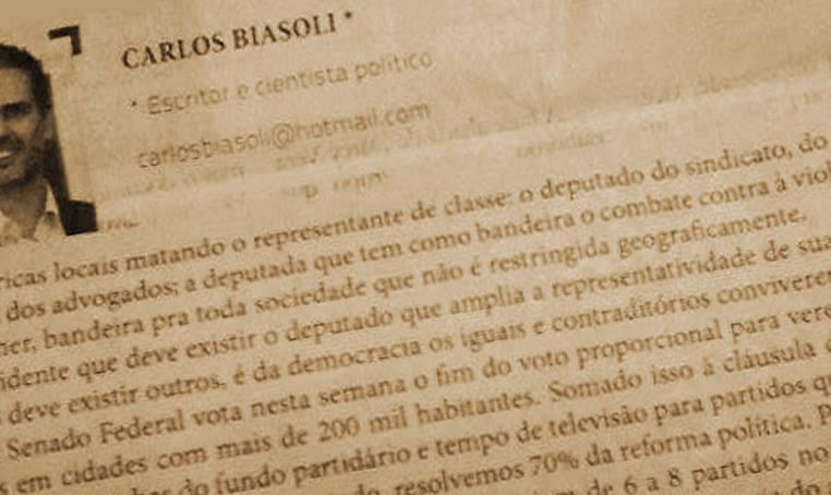 Série Reforma Política: 2 – Jornal Tribuna – Carlos Biasoli