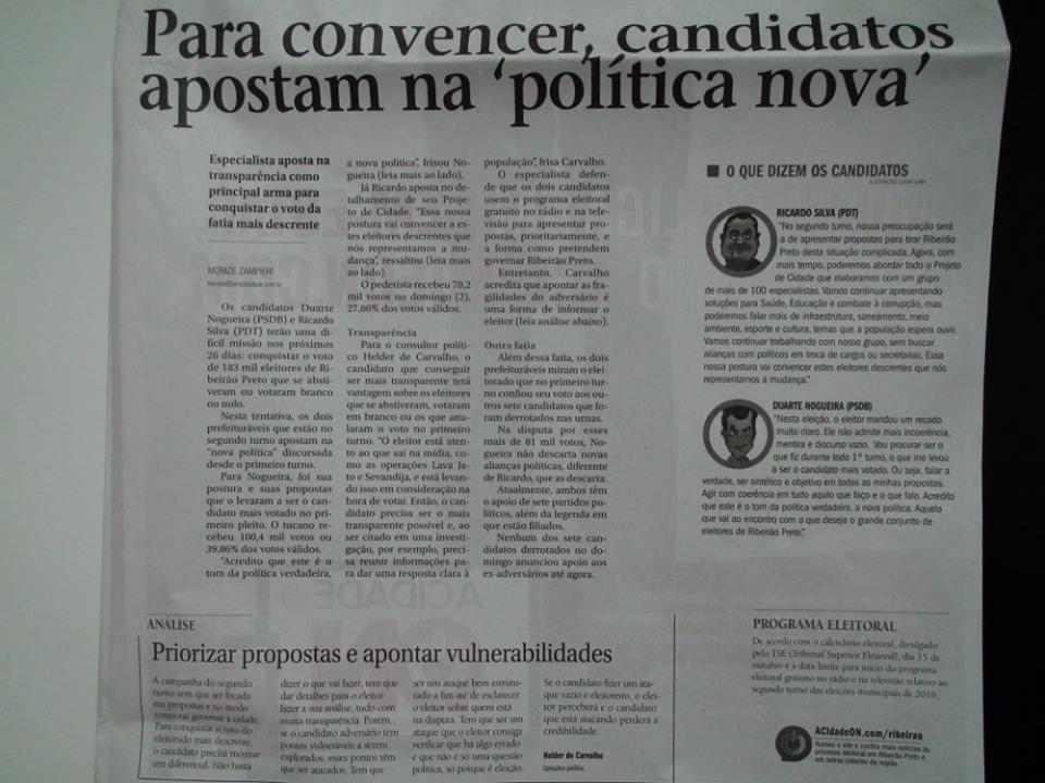 Helder de Carvalho – Consultor Político – Análise para o Jornal